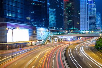 traffic light trails at Night in Shenzhen, China.