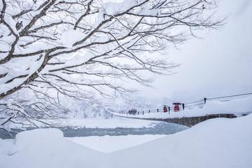 Winter Landscape around the famous traditional gassho-zukuri farmhouses village Shirakawa-go in Japan