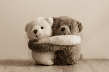 White and brown teddy bears hugging.