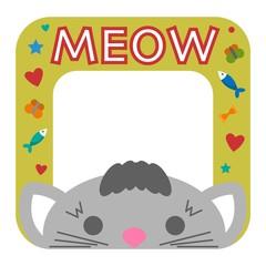Cute happy birthday border cat photo frame vector illustration.