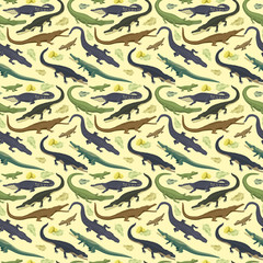 Vector seamless pattern with crocodile.