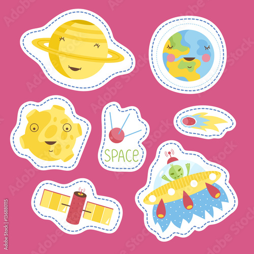 space cartoon stickers smiling planets saturn earth moon alien in flying saucer comet or. Black Bedroom Furniture Sets. Home Design Ideas
