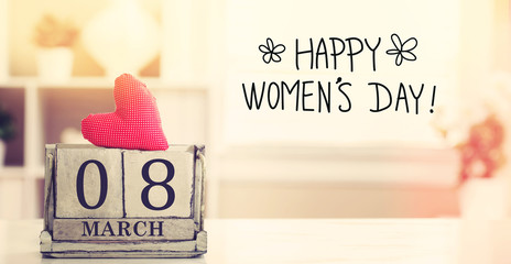 8 March Happy Women's Day message with calendar