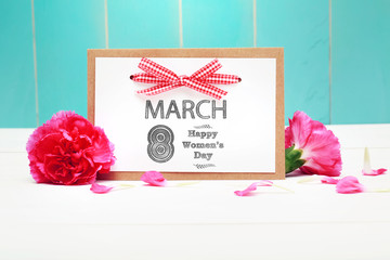 March 8th Happy Women's Day message with carnation flowers