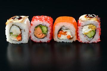 Sushi on black background