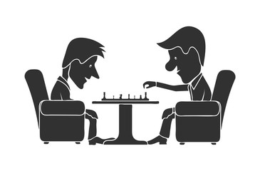 Ridiculous caricature, men at a table play chess, a vector illustration.