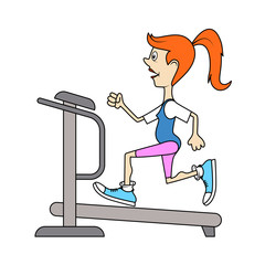Ridiculous caricature, the girl on a racetrack occupation in fitness club, a vector illustration.