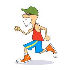 Ridiculous caricature the elderly man the running marathon a vector illustration.