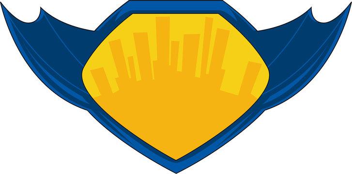 Cartoon Superhero Winged Shield