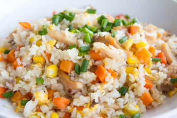 Delicious fried rice on white plate background