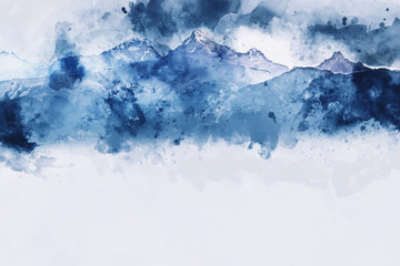 Mountain peak in winter paining in blue tone on white background