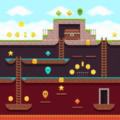 Computer 8 bit pixel video game. Platform and arcade vector design