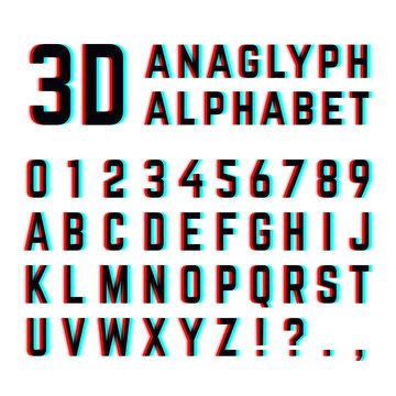 Tv distortion 3D effect stereoscopic, anaglyph alphabet and numbers
