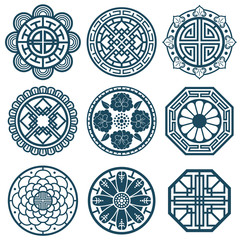 Traditional korean symbols, vector korea pattern design for bathroom repeat tiles