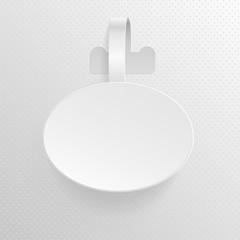 Isolated empty white advertising plastic oval shelf wobbler vector illustration