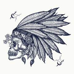 Indian skull tattoo art. Warrior symbol. Native American