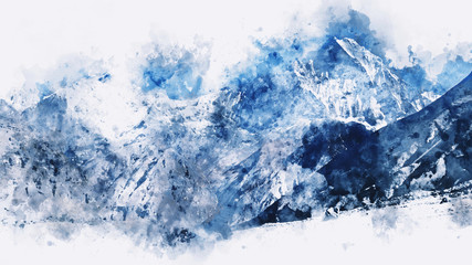Abstract mountains in blue tone,  digital watercolor painting