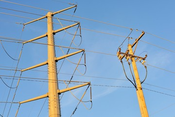 Power lines near a substation providing part of a grid that provides electricity to a part of suburban Chicago. The city and suburban population places massive power demands on suppliers.