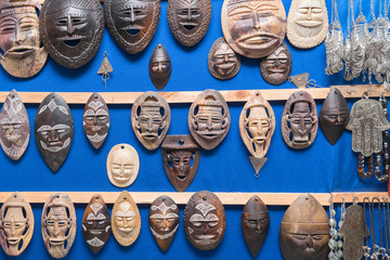 African masks, Morocco. Gift shop.