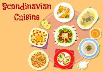 Scandinavian cuisine fish dishes icon design