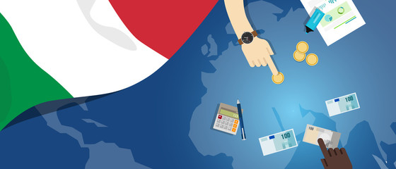 Italy economy fiscal money trade concept illustration of financial banking budget with flag map and currency