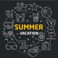 Vector linear illustration dark background summer vacation