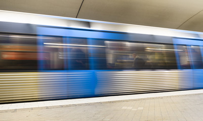 Blurred view of a train at a subway station, Stockholm, Sweden