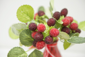 bouquet of red berries in a vase