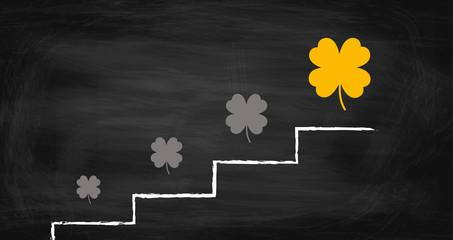 Treppe - Weg zum Glück - Vierblättriges Kleeblatt