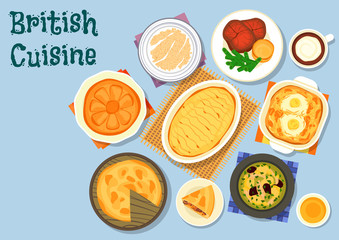 British cuisine lunch menu icon for food design