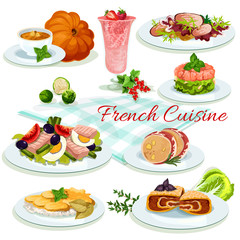 French cuisine popular dishes poster design