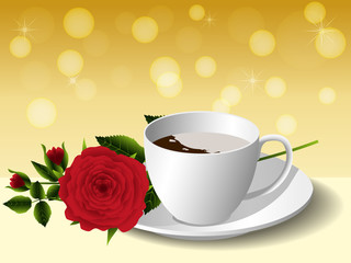 Cup of coffee and rose