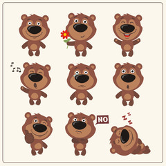 Funny little bear set in different poses. Collection isolated teddy bear in cartoon style.
