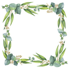 Watercolor square wreath with eucalyptus leaves and branches.