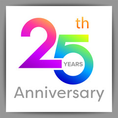 Template logo 25th anniversary with a circle, shape and colorful vector illustration
