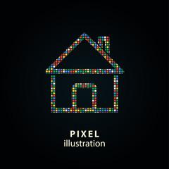 Home - pixel illustration.