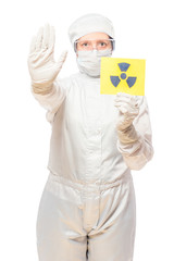woman in the affected area with radiation in a protective suit w