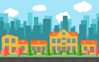 Vector city with cartoon houses and buildings with red and green trees and shrubs. City space with road on flat style background concept. Summer urban landscape.