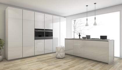3d rendering white minimal kitchen in winter