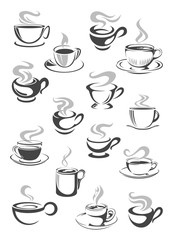 Coffee cup and tea mug icon set for drink design
