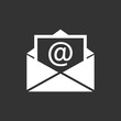 Mail envelope icon vector isolated on black background. Symbols of email flat vector illustration.