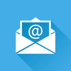 Mail envelope icon vector isolated on blue background with long shadow. Symbols of email flat vector illustration.