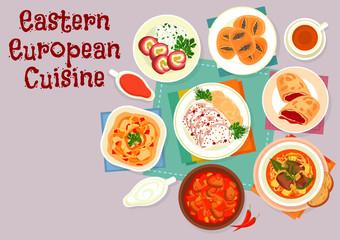 Eastern european cuisine icon for menu design