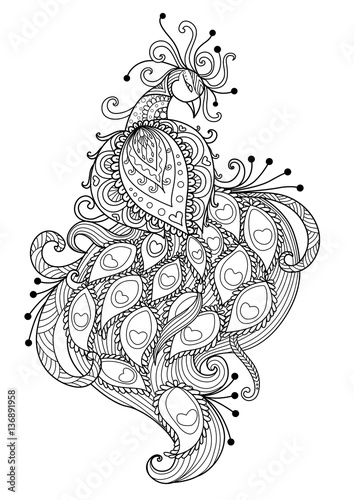 Zendoodle Stylized Beautiful Peacock For Bag Designpillow Design T Shirt And