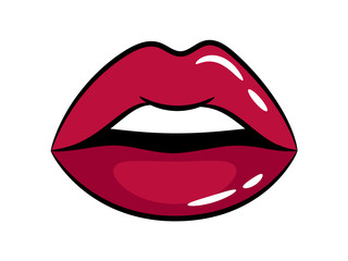 Female bright glossy lips on white background. Vector illustration