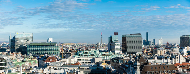 Cityscape of Wien as seen from st. Stephen cathedral roof