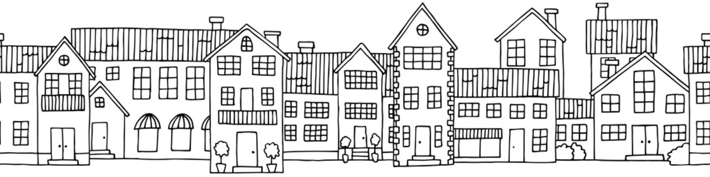 House graphic black white seamless background sketch illustration vector