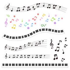 手描き 音符と鍵盤セット / vector eps