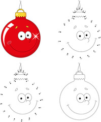Christmas cartoon ball. Dot to dot game for kids