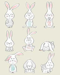 Set of cartoon rabbits with great emotions.